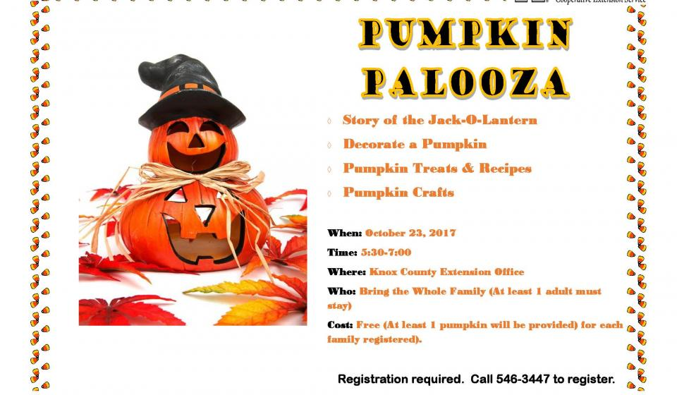 The Knox County Extension Office will be hosting the Pumpkin Palooza